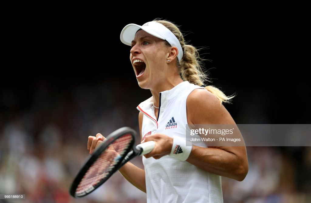 Angelique Kerber celebrates on day eight of the Wimbledon Championships at the All England Lawn Tennis and Croquet Club, Wimbledon.