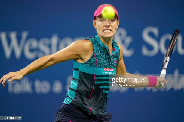 Angelique Kerber focuses on the ball during the Western Southern Open at the Lindner Family Tennis Center in Mason Ohio on August 15 2018
