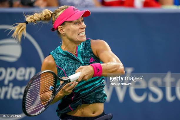 Angelique Kerber follows through on a shot during the Western Southern Open at the Lindner Family Tennis Center in Mason Ohio on August 15 2018