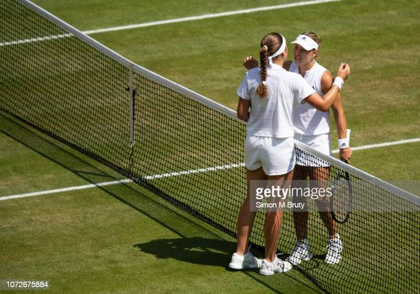 Angelique Kerber from Germany comes to console Jelena Ostapenko from Latvia after defeating her The Wimbledon Lawn Tennis Championship at the All...