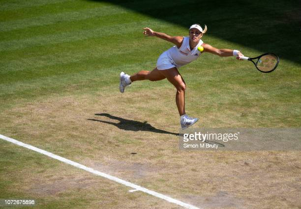 Angelique Kerber from Germany in action against Jelena Ostapenko from Latvia during The Wimbledon Lawn Tennis Championship at the All England Lawn...