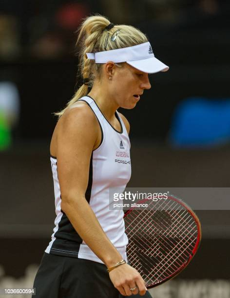 Angelique Kerber from Germany in action against Svitolina from Ukraine at the Federation Cup world group relegation playoff round tennis match...