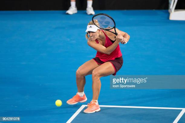 Angelique Kerber hits a backhand down the line at the Sydney International Tennis Match held at The Sydney Tennis Centre on January 12 2018 in Sydney...