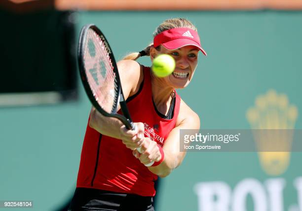 Angelique Kerber hits a backhand during the quarterfinals of the BNP Paribas Open on March 15 at the Indian Wells Tennis Gardens in Indian Wells CA