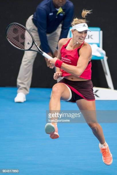Angelique Kerber hits a forehand down the line at the Sydney International Womens Tennis Final between Angelique Kerber and Ashleigh Barty held at...