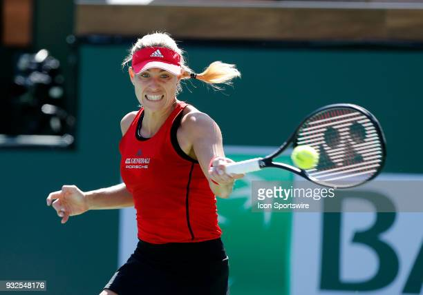 Angelique Kerber hits a forehand during the quarterfinals of the BNP Paribas Open on March 15 at the Indian Wells Tennis Gardens in Indian Wells CA
