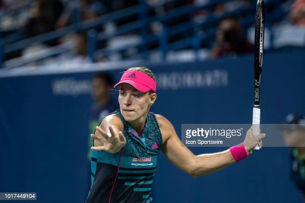 Angelique Kerber hits a forehand shot during Day 4 of the Western and Southern Open at the Lindner Family Tennis Center on August 15 2018 in Mason...