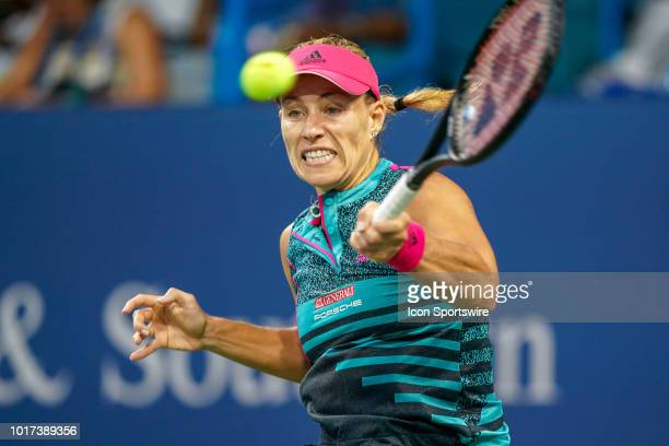 Angelique Kerber hits a forehand shot during the Western Southern Open at the Lindner Family Tennis Center in Mason Ohio on August 15 2018