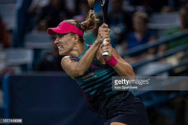 Angelique Kerber hits a twohanded backhand shot during Day 4 of the Western and Southern Open at the Lindner Family Tennis Center on August 15 2018...
