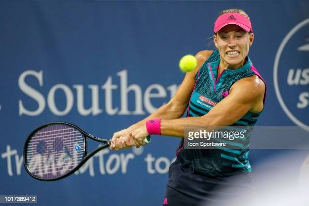Angelique Kerber hits a twohanded backhand shot during the Western Southern Open at the Lindner Family Tennis Center in Mason Ohio on August 15 2018
