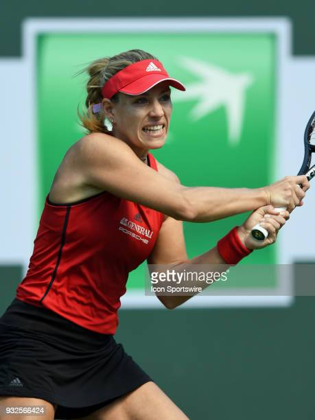 Angelique Kerber in action during the second set of a quarterfinals match played during the BNP Paribas Open on March 15 2018 at the Indian Wells...