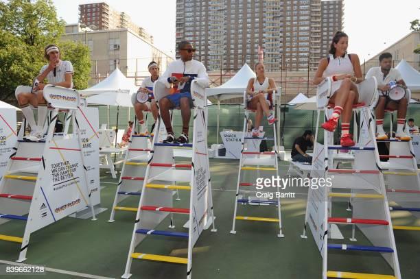 Angelique Kerber JoWilfried Tsonga Garbine Muguruza Pharrell Williams Sascha Zverev and Dominic Theim attend adidas Tennis Pharrell Williams Don't Be...