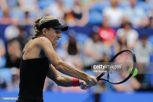 Angelique Kerber of Germany a forehand to Alize Cornet of France in the women's singles match during day five of the 2019 Hopman Cup at Perth Arena...