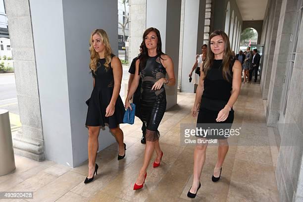 Angelique Kerber of Germany Agnieszka Radwanska of Poland and Simona Halep of Romania attend the official photo shoot for the BNP Paribas WTA Finals...