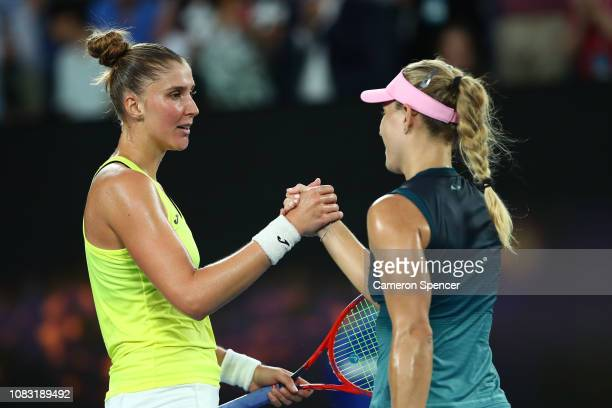 Angelique Kerber of Germany and Beatriz Haddad Maia of Brazil shake hands after their second round match during day three of the 2019 Australian Open...