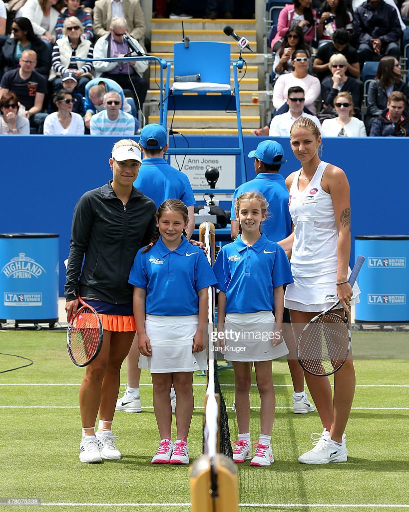 Angelique Kerber of Germany(L) and Karolina Pliskova of Czech Republic pose with mascots ahead of their singles final match on day seven of the Aegon Classic at Edgbaston Priory Club on June 21, 2015 in Birmingham, England.