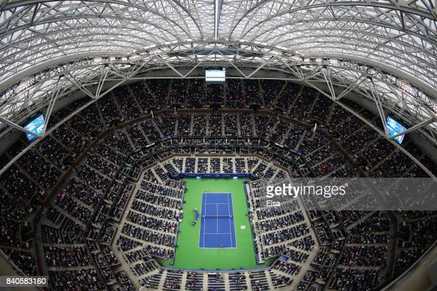 Angelique Kerber of Germany and Naomi Osaka of Japan play in Arthur Ashe Stadium on Day Two of the 2017 US Open at the USTA Billie Jean King National...