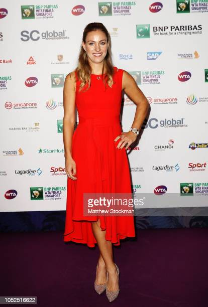 Angelique Kerber of Germany arrives during the Official Draw Ceremony and Gala of the BNP Paribas WTA Finals Singapore presented by SC Global at...
