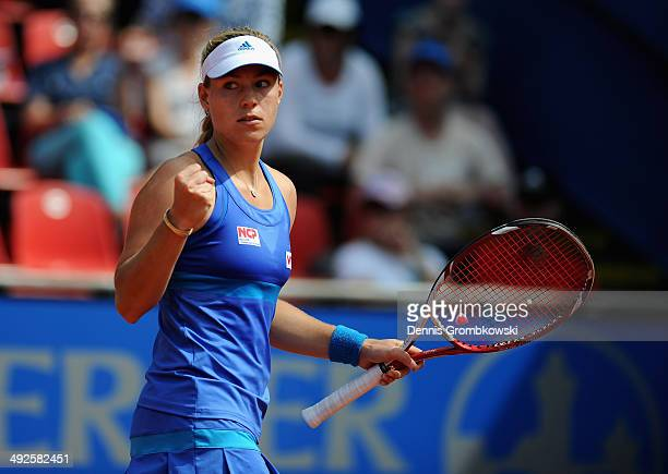 Angelique Kerber of Germany celebrates a point during her match against AnnaLena Friedsam of Germany during Day 5 of the Nuernberger Versicherungscup...