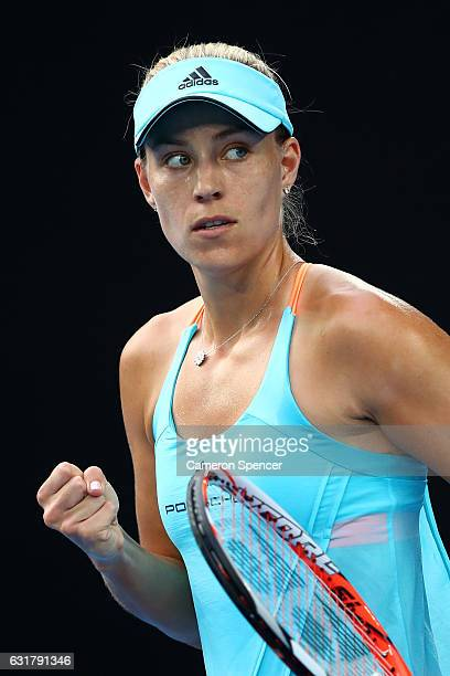 Angelique Kerber of Germany celebrates a point in her first round match against Lesia Tsurenko of the Ukraine on day one of the 2017 Australian Open...