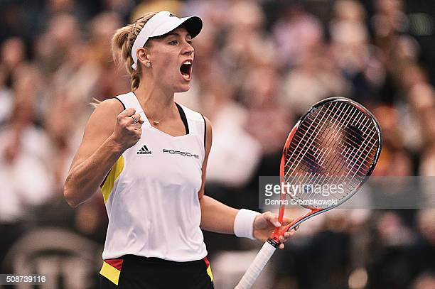 Angelique Kerber of Germany celebrates a point in her match against Timea Bacsinszky of Switzerland during Day 1 of the 2016 Fed Cup World Group...