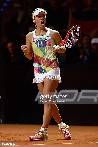 Angelique Kerber of Germany celebrates a point in her match against Annika Beck of Germany during Day 3 of the Porsche Tennis Grand Prix at...