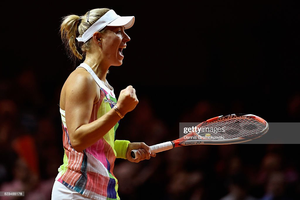 Angelique Kerber of Germany celebrates a point in her semi final match against Petra Kvitova of Czech Republic during Day 6 of the Porsche Tennis Grand Prix at Porsche-Arena on April 23, 2016 in Stuttgart, Germany.