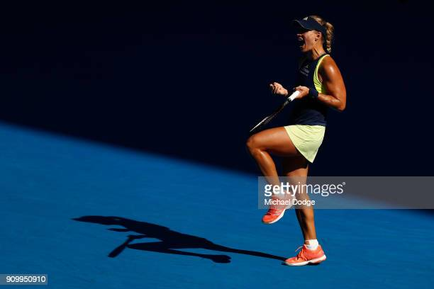 Angelique Kerber of Germany celebrates a point in her semifinal match against Simona Halep of Romania on day 11 of the 2018 Australian Open at...