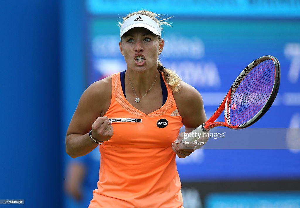 Angelique Kerber of Germany celebrates a point in her singles final match against Karolina Pliskova of Czech Republic on day seven of the Aegon Classic at Edgbaston Priory Club on June 21, 2015 in Birmingham, England.