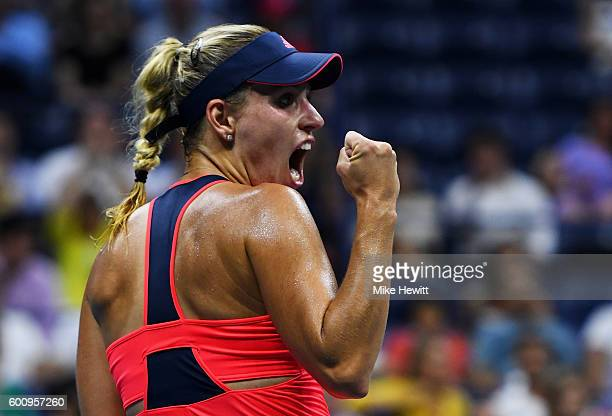 Angelique Kerber of Germany celebrates after defeating Caroline Wozniacki of Denmark with a score of 64 63 in their Women's Singles Semifinal Match...