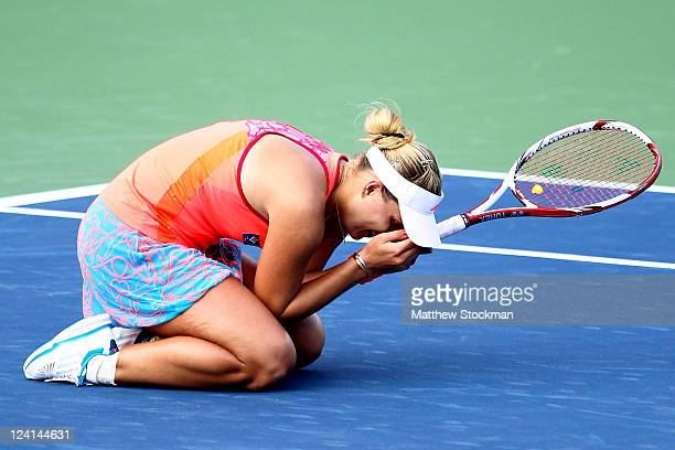 Angelique Kerber of Germany celebrates after defeating Flavia Pennetta of Italy during Day Eleven of the 2011 US Open at the USTA Billie Jean King...