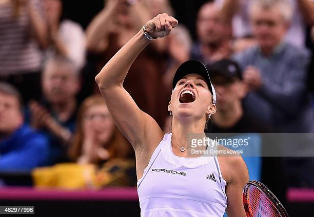 Angelique Kerber of Germany celebrates after her single match against Samantha Stosur of Australia during the Fed Cup 2015 World Group First Round...