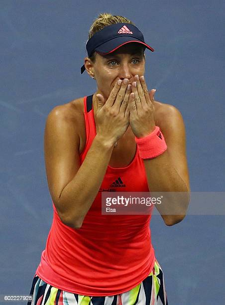 Angelique Kerber of Germany celebrates after winning against Karolina Pliskova of the Czech Republic during their Women's Singles Final Match on Day...
