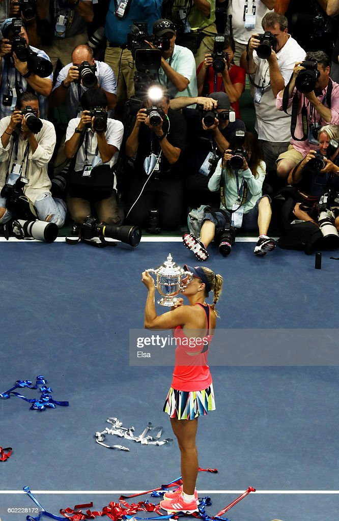 Angelique Kerber of Germany celebrates after winning (6-3), (4-6), (6-4) against Karolina Pliskova of the Czech Republic during their Women's Singles Final Match on Day Thirteen of the 2016 US Open at the USTA Billie Jean King National Tennis Center on September 10, 2016 in the Flushing neighborhood of the Queens borough of New York City.