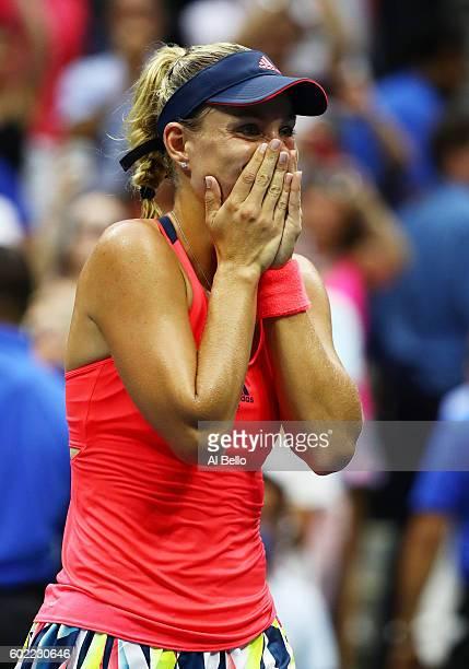 Angelique Kerber of Germany celebrates after winning against Karolina Pliskova of the Czech Republic in their Women's Singles Final Match on Day...