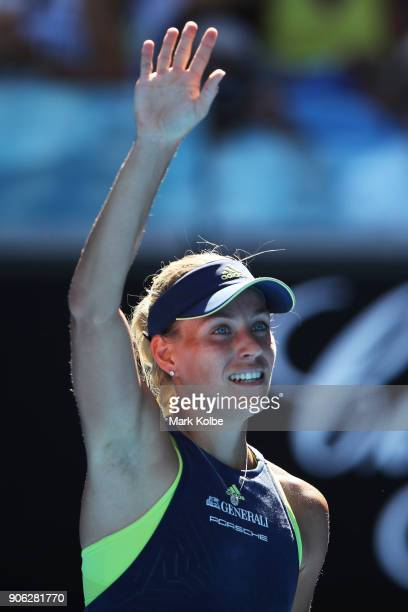 Angelique Kerber of Germany celebrates after winning match point in her second round match against Donna Vekic of Croatia on day four of the 2018...