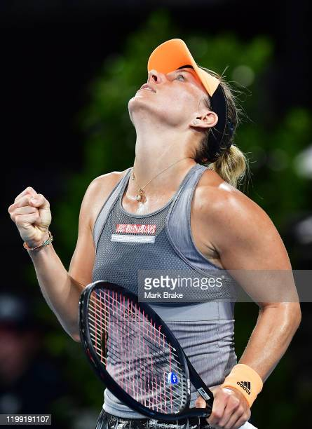 Angelique Kerber of Germany celebrates beating Qiang Wang of China during day two of the 2020 Adelaide International at Memorial Drive on January 13...