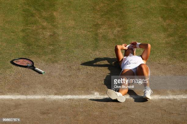 Angelique Kerber of Germany celebrates Championship point against Serena Williams of The United States during the Ladies' Singles final on day twelve...