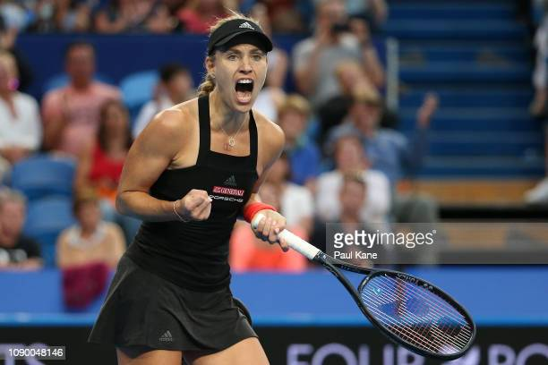Angelique Kerber of Germany celebrates defeating Belinda Bencic of Switzerland in the women's singles final during day eight of the 2019 Hopman Cup...