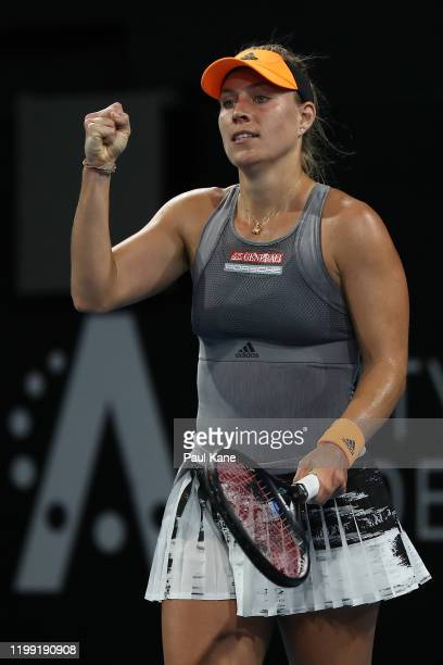 Angelique Kerber of Germany celebrates defeating Qiang Wang of China during day two of the 2020 Adelaide International at Memorial Drive on January...