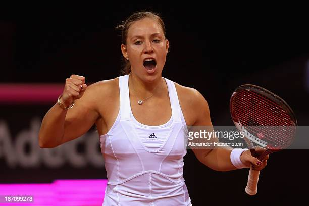 Angelique Kerber of Germany celebrates during her match against Bojana Jovanovski of Serbia at the Fed Cup World Group Play off between Germany and...