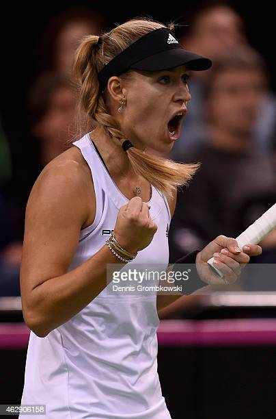 Angelique Kerber of Germany celebrates during her single match against during the Fed Cup 2015 World Group First Round tennis between Germany and...