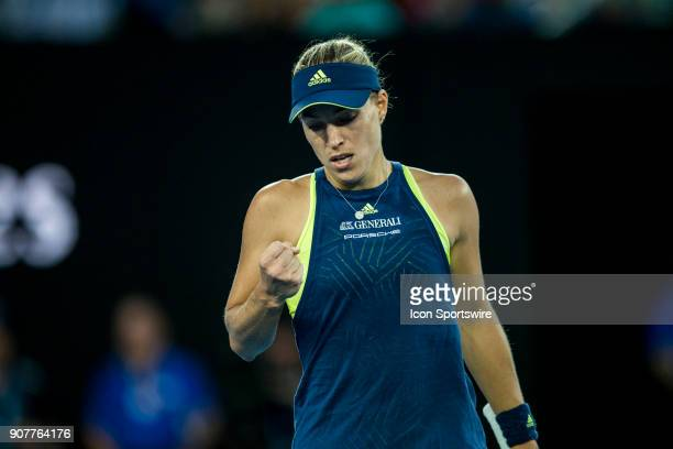 Angelique Kerber of Germany celebrates in her third round match during the 2018 Australian Open on January 20 at Melbourne Park Tennis Centre in...