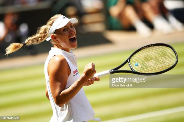 Angelique Kerber of Germany celebrates match point against Jelena Ostapenko of Latvia during their Ladies' Singles semi-final match on day ten of the...