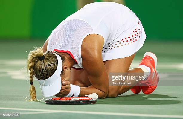 Angelique Kerber of Germany celebrates match point against Madison Keys of the United States during the women's singles semifinal match on Day 7 of...