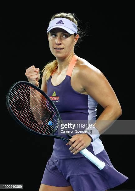 Angelique Kerber of Germany celebrates match point during her Women's Singles first round match against Elisabetta Cocciaretto of Italy on day two of...