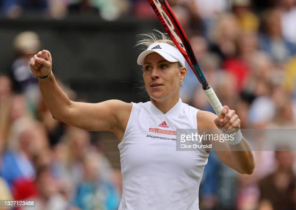 """Angelique Kerber of Germany celebrates match point in her Ladies' Singles Fourth Round match against Cori """"Coco"""" Gauff of The United States during..."""