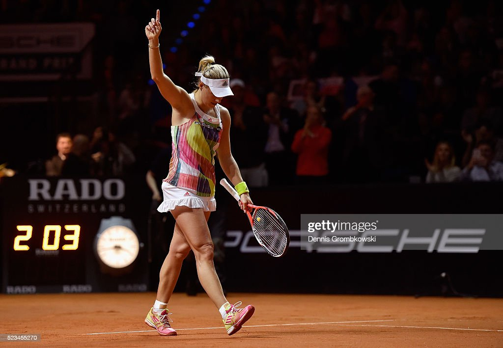 Angelique Kerber of Germany celebrates match point in her semi final match against Petra Kvitova of Czech Republic during Day 6 of the Porsche Tennis Grand Prix at Porsche-Arena on April 23, 2016 in Stuttgart, Germany.