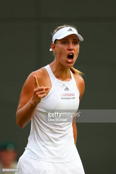 Angelique Kerber of Germany celebrates victory after her Ladies Singles second round match against Kristen Flipkins of Belgium on day four of the...