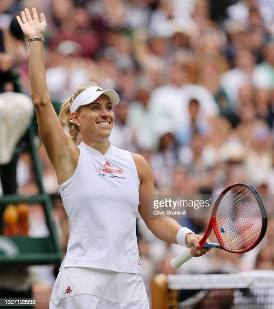 """Angelique Kerber of Germany celebrates victory after winning her Ladies' Singles Fourth Round match against Cori """"Coco"""" Gauff of The United States..."""
